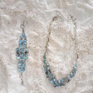 Handmade Caribbean Larimer Necklace & Bracelet Set